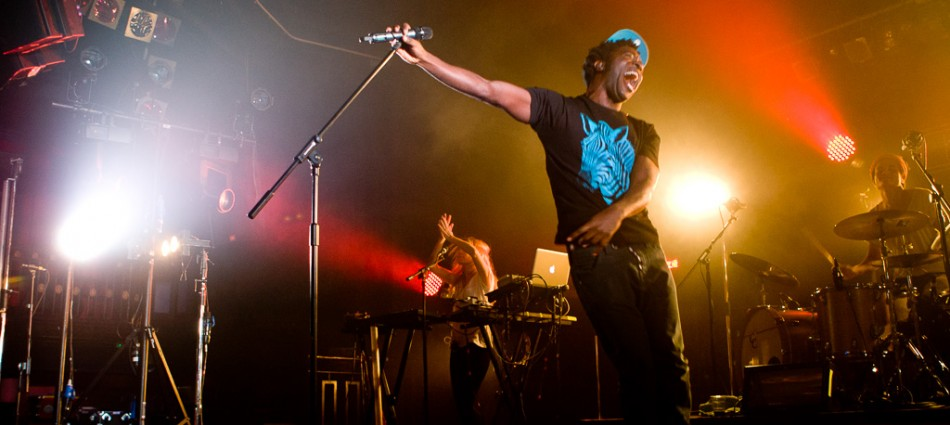 photograph of Kele Okereke performing live at The HMV Ritz, Manchester